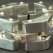 Chunky Sterling Silver and Turquoise Mexican Bracelet, ca. 1940's