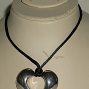 Vintage Airess Sterling Silver Open Heart Pendant Necklace