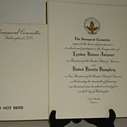 Johnson Humphrey Inauguration Invitation and Inaugural Gala Program 1965