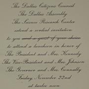 Kennedy JFK Dallas Luncheon Invitation & Amateur Photos on 11/22/1963