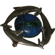 Sterling Silver Dolphins Pin or Pendant with Azurite
