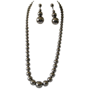 Vintage Nickel Silver Graduated Bead Necklace and Earrings