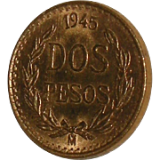 1945 Two Pesos Gold Mexican Coin