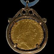 22 Karat Gold 1792 George III British Spade Guinea in Bezel