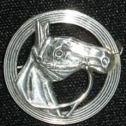 Beau Sterling Horse Head Circle Pin