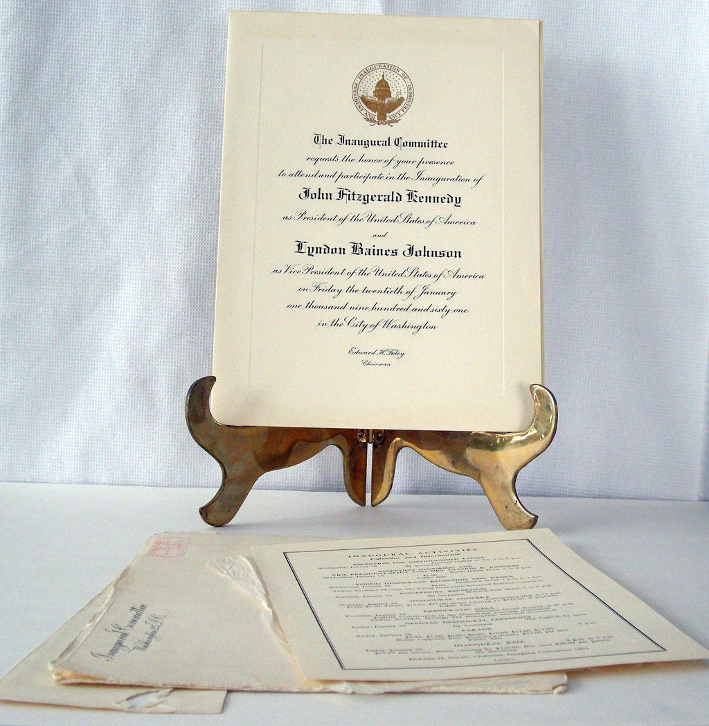 Kennedy Johnson JFK LBJ Official Inauguration Invitation + Insert, Envelope