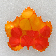 Western Germany Mod 1960s Enamel Leaf Brooch