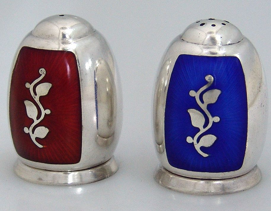 Danish Sterling Silver Enamel Salt And Pepper Shakers 1930