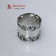 Floral Border Sterling Silver Napkin Ring Simon Brothers 1900