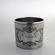 Fannie Napkin Ring Coin Silver 1870