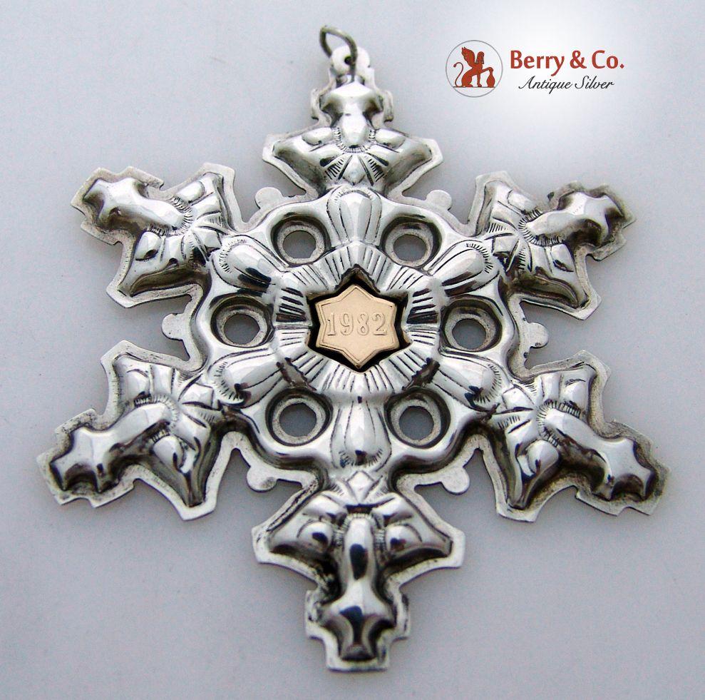 Gorham Christmas Ornament Snowflake Sterling Silver 1982