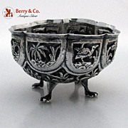 Indian Paneled Repousse Bowl Elephant Tigers Deer Palm Trees Native Huts 900 Standard SIlver 1