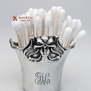 SALE PENDING Art Nouveau Figural Lady Q Tip Holder William Kerr Sterling Silver Monogram JH