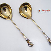 Pair of Baroque Gravy Ladles Solid Silver 1890