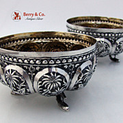 Pair of Ornate Figural Animal Palm Trees Repousse Bowls 1890