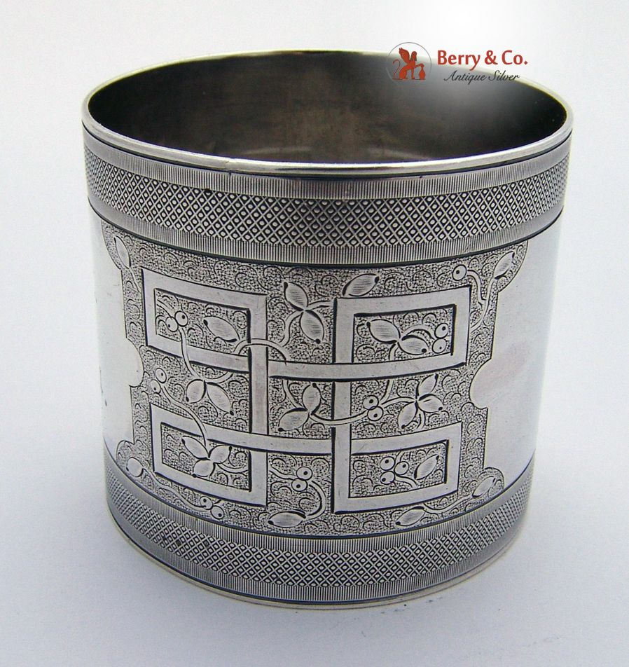American Coin Silver Geometric Engraved Napkin Ring 1890