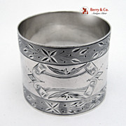Bright Cut Napkin Ring Coin Silver 1890