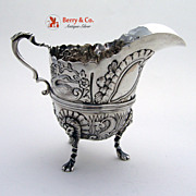 Ornate Creamer Figural Animal Sterling Silver Chester 1905