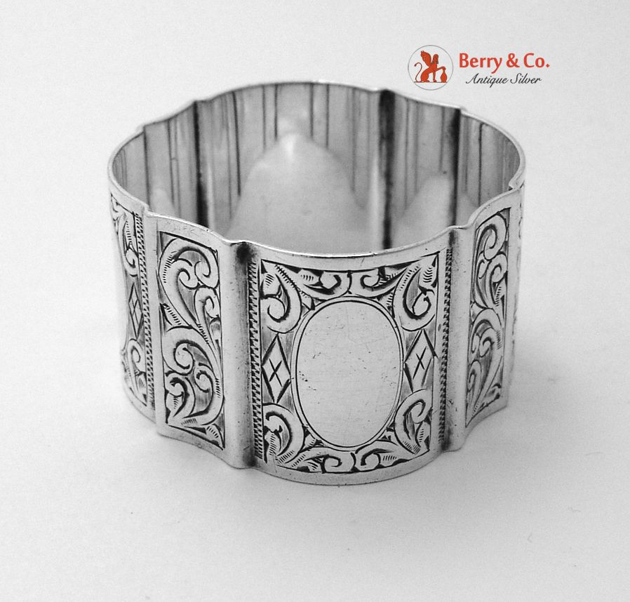 Scroll Engraved Napkin Ring Sterling Silver Towle 1900