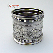 Bright Cut Napkin Ring Gorham Sterling Silver No Monograms 1885