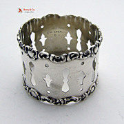 Open Work Napkin Ring Sterling Silver Watrous 1897