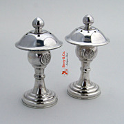 Japanese Figural Salt and Pepper Shakers Sterling Silver 1930