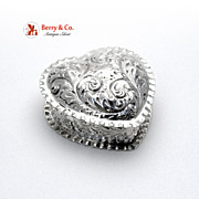 Heart Shape Pie Crust Box Sterling Silver Gorham 1892 No Monogram
