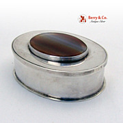 Vintage Hand Made Vanity Box Sterling Silver Agate