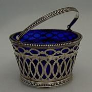 Dutch Basket Cobalt Glass Insert Cut Work 833 Silver 1890
