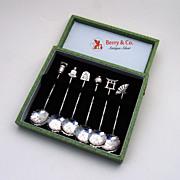 6 Figural Master Salt Spoons Sterling Silver Boxed