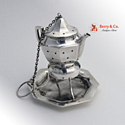 Figural Teapot Tea Ball Sterling Silver National Silver Co 1910