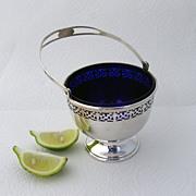 Swing Handle Basket Cobalt Glass Liner Frank Whiting Sterling Silver 1930 No Monogram