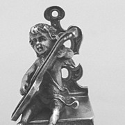 Miniature Guitar Playing Cupid on Musical Chair Sterling Germany 1930