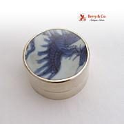 Vintage Sterling Silver Round Box Porcelain Lid