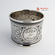 American Coin Silver Napkin Ring Chased Decorations 1870