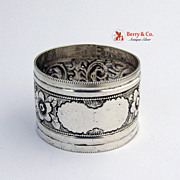 Sterling Silver Napkin Ring Floral Repousse Birmingham 1896