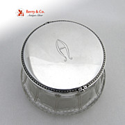 Colonial Revival Dresser Jar Sterling Silver Cut Glass McChesney Company 1915 Monogram A