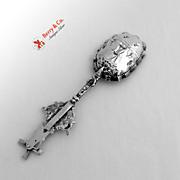 Dutch Windmill Sugar Spoon Ornate Scroll Handle 833 Silver 1901