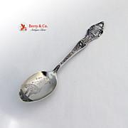 California Souvenir Spoon Ostrich Bowl Baker Manchester Sterling SIlver 1900