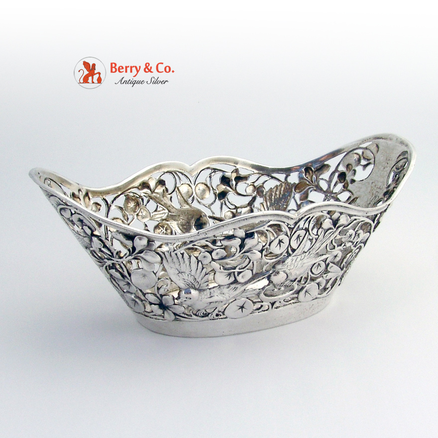 Antique Ornate Bowl Bird Decorations 800 Silver