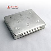 Art Deco Cigarette Box Star Pattern Thomae Sterling Silver 1940