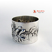 Repousse Orchid Napkin Ring 900 Silver Philip