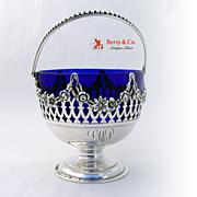 Swing Handle Basket Sterling Silver Floral Open Work Decorations Cobalt Blue Glass Liner