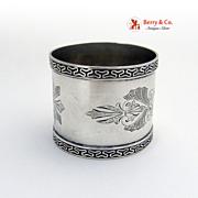 Aesthetic Foliate Engraved napkin Ring 1870 Coin Silver EPG