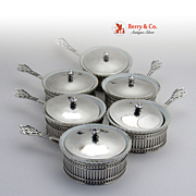 SALE PENDING Ramekin Dishes Putnam Watson Sterling Silver Holders with Lids and Liners 1920