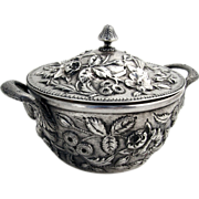 Repousse Covered Sugar Bowl Kirk 925/1000 Mark Pattern 53