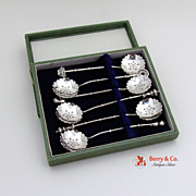 6 Figural Master Salt Demitasse Spoons Sterling Silver Boxed