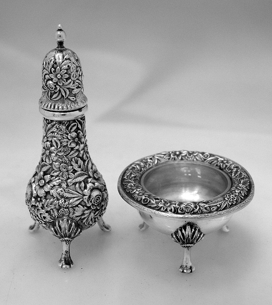 Repousse Open Salt and Pepper Shaker Kirk & Son 1940 Sterling Silver