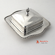 Covered Butter Dish 800 Silver Hammered Finish Acorn Finial