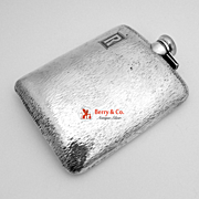 Arts and Crafts Flask Sterling Silver Hand Hammered 1930